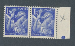FRANCE - N° 434+434h EN PAIRE NEUVE* AVEC CHARNIERE SIGNATURE DU GRAVEUR ABSENTE TENANT A NORMAL - 1940 - Curiosities: 1931-40 Mint/hinged