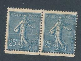 FRANCE - PAIRE N° 132d) NEUVE* AVEC CHARNIERE RECTO VERSO - COTE MINI : 400€ - 1906 - 1903-60 Semeuse Lignée