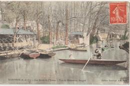 CPA Mandres (94) Partie De Barque Sur Les Bords De L'Yerres Au Restaurant Jaspard Colorisée  Ed Lembège - Mandres Les Roses