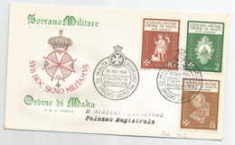 "2 FDC  Série De 6 TP  ""SUB HOC SIGNO MILITAMUS""  (1966) - Malte (Ordre De)"
