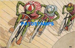 161728 ART ARTE FROG RACE WITH BICYCLE BIKE POSTAL POSTCARD - Unclassified