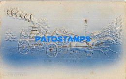 161743 ART ARTE EMBOSSED MAN'S IN CARRIAGE A HORSE GOING TO THE FIRE POSTAL POSTCARD - Unclassified
