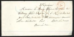 """Faire-part Mortuaire (partie De Texte) Daté De Rongy Càd TOURNAY/1846 + """"40"""" Pour La Hollande - 1830-1849 (Independent Belgium)"""