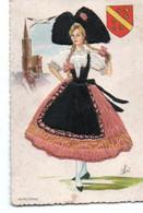 Carte Fantaisie Femme Alsacienne - Bestickt
