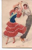 Carte Fantaisie Brodee Couple Sevilanas - Bestickt