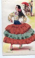 Carte Fantaisie Brodee Femme Andalousie - Bestickt