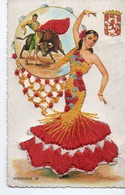 Carte Fantaisie Brodee Femme Espagne Andalousie - Bestickt
