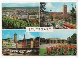STUTTGART En 4 Vues Tram Tramway Cars BUS Autos Mercedes VW Käfer Combi - Stuttgart