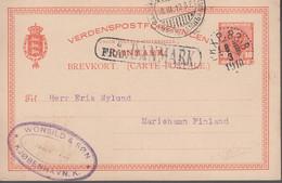 1910. DANMARK. BREVKORT 10 ØRE Frederik VIII To Mariehamn, Åland, Finland Cancelled I... () - JF420203 - Aland