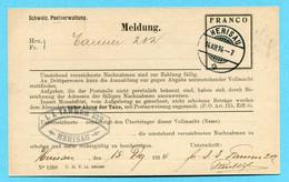 Postkarte Schweiz. Postverwaltung - Meldung Mit Francoeindruck Gestempelt Herisau 14.XII.14 - Postage Due