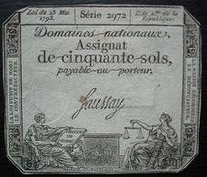 Assignat De 50 Sols Signé Faussay Série 2972 - Assignats & Mandats Territoriaux