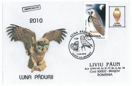COV 17 - 953 Bird OWL, Romania - Cover - Used - 2010 - Eulenvögel