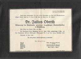 Great Scholar Hermann Oberth Death Annoucement 1946 For Father Julius Oberth Medias Transylvania - Documentos Históricos