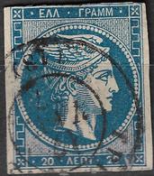 GREECE 1875-80 Large Hermes Head On Cream Paper 20 L Blue Vl. 65 / H 51 With Uneven CN - Gebruikt