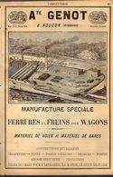 PUB 1891 - Ferrures & Freins Wagons A Genot à Nouzon; Crémone Fontes Sur Modèle L. Tillet Vrigne Aux Bois 08 Ardennes - Advertising
