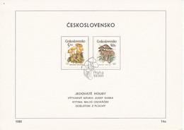 Czechoslovakia / First Day Sheet (1989/14b) Praha: Poisonous Mushrooms (Amanita Phalloides, Cortinarius., Amanita Virosa - Giftige Pflanzen