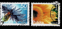 Polen 2015/6,Michel# 4775, 4816 O Flowers: Sunflower, Coneflower (Centaurea Cyanus) - Gebruikt