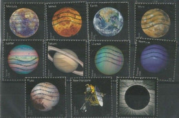 USA Planets Of Solar System + Pluto + Solar Eclipse + New Horizons - Cpl 11v Set Used - Used Stamps