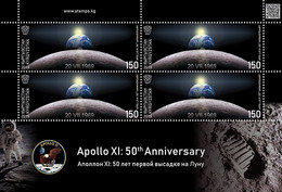 KYRGYZSTAN 2019 KEP 131 SPACE APOLLO 11 50th ANNIVERSARY - Mint Sheetlet - Only 1500 Issued - Asien