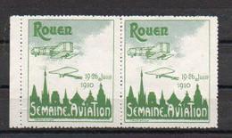 Vignettes Semaine D'aviation Rouen Juin 1910 - Vert Et Gris Vert - Gomme Sans Charnière - Luchtvaart