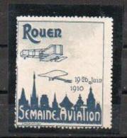 Vignette Semaine D'Aviation Rouen 1910 - Bleu-noir Et Gris - Luchtvaart