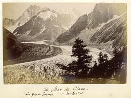Albumen Photo - Mer De Glace FRANCE (15.5 X 10cm) - Old (before 1900)