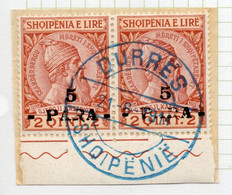 12CRT52 - ALBANIA 1914 , Michel N. 41 (yv 38) Usata : Coppia Soprastampa Stanca - Albanien