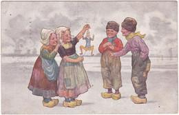 Illustrateur : FEIERTAG - Karl : Enfants Hollandais Jouant Avec Une Marionnette : B. K. W. I. 496 - 5. - Feiertag, Karl