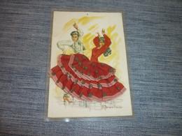 Carte Postale Elsix Espagne Danseurs   Carte Brodée  Costume Tradition Folklore - Ricamate