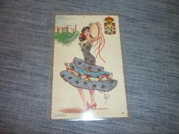 Carte Postale Elsix Espagne Granada Grenade  Carte Brodée  Costume Tradition Folklore N°10 - Ricamate