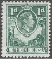 Northern Rhodesia. 1938-52 KGVI. 1d Green MH. SG 26 - Northern Rhodesia (...-1963)