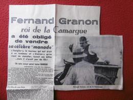 FERNAND GRANON ROI DE LA CAMARGUE VENTE CELEBRE MANADE LE SANGLIER & CLAIRON - Historische Documenten