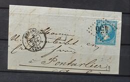 05 - 21 - France - Fragment N°22 Oblitération GC 456 - Besançon - 1862 Napoleon III