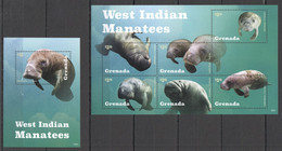 H1918 2015 GRENADA MARINE LIFE WEST INDIAN MANATEES #7135-40 MICHEL BL+KB MNH - Altri
