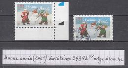 France Bonne Année (2001) Y/T Variété N° 3437b (neige Blanche) Coin De Feuille Neuf ** - Varietà: 2000-09 Nuovi