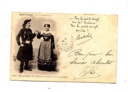 Carte  Couple Botrel  Cachet  Paris Sur Mouchon - Bretagne