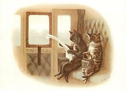 Animaux - Chats - Dessin - Illustration - Irenco Robert Bier AB - Chats En Première Classe Dans Un Train - Original : 19 - Cats