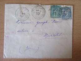 France - Timbres Sage 5 Et 15c N°75 Et 90 Sur Enveloppe Entre Paris Et Morestel (Isère) - Juillet 1898 - 1877-1920: Semi-moderne Periode