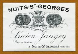 """NUITS-SAINT-GEORGES  (21) : """" Lucien JAUGEY Propriétaire """"  Etiquette Ancienne - Bourgogne"""