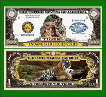 USA 'Bengal Tiger' 1 Million Dollar Novelty Banknote - Endangered Species - UNC & CRISP - Other - America