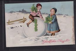 A33x /   Litho Glücksklee Klee  , Neujahr , Kinder Schneeball / Kirchenlamitz - Año Nuevo
