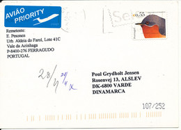 Portugal Chess Card Sent To Denmark 2003 Single Franked BIRD - Covers & Documents