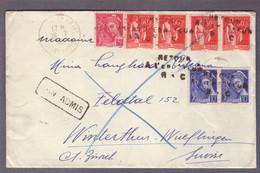⌧ Aff Mercure/Paix ʘ  26.07.1940 ->Winterthur  Retour à L'envoyeur  - Non Admis - WW II