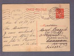 ⌧ Entier Postal 1f50 Iris  ʘ Nice 09.04.1941 -> Lausanne > Rossières - WW II