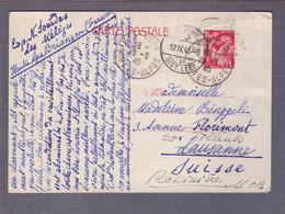 ⌧ Entier Postal 2f40 Iris  ʘ Briançon 25.03.1945 -> Lausanne > Rossières - WW II