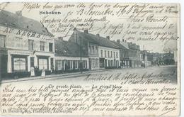 """Hoboken - De Groote Plaats - La Grand'place - Café """" In De Neger """" - D. Hendrix, Antwerpen - 1904 - Antwerpen"""