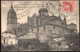 """España - Edi O TP 243 - Postal """"Salamanca - La Catedral"""" Mat """"Amb Asc 1 - Medina - Fuentes"""" - Cartas"""