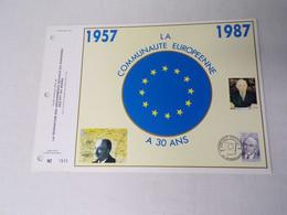 Feuillet Timbre 1er Jour CEF Grand Luxe-la Communauté Européenne 1957-1987 - 1980-1989