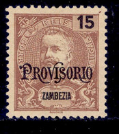 """! ! Zambezia - 1902 D. Carlos W/OVP """"Provisorio"""" 15 R - Af. 42 - MH - Zambèze"""