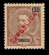 ! ! Zambezia - 1917 King Carlos Local Republica 130 R - Af. 98 - No Gum - Zambèze